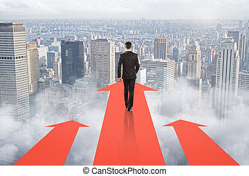 goal concept, businessman, city