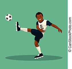 goal., de piel oscura, ilustración, jugador, vector, cuentas, futbol