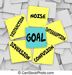 Goal Distraction Diversion Noise Interruption Confusion Sticky N
