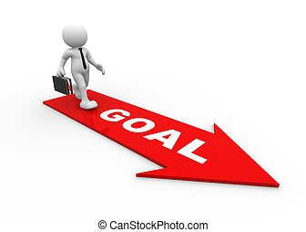Goal - 3d people - man, person on path to success