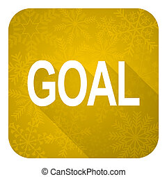 goal flat icon, gold christmas button