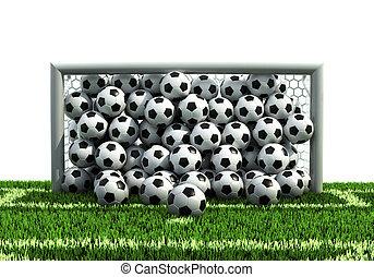 goal full of soccer balls on the football field