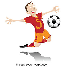 goal., giocatore, calcio, festeggiare