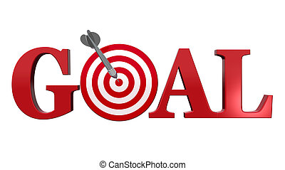 Goal. - Goal text. A red dart center target, isolated on...