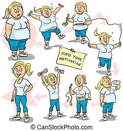 goal., haar, vrouw, bereiken, gewicht-verlies
