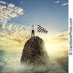goal., homme affaires, concept, détermination, reachs