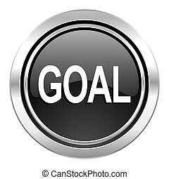 goal icon, black chrome button
