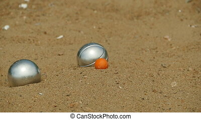 goal in the game bocce - goal in the game of bocce, slow...