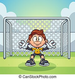 Goal keeper kid with soccer goal background clip art. Vector...