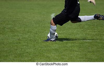 Goal-keeper starting a game