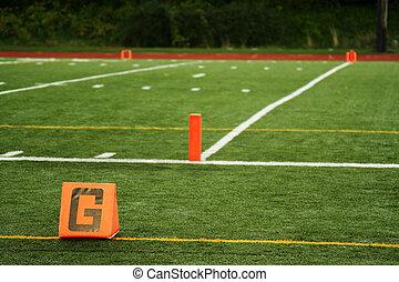 Goal line - The goal line on a football field