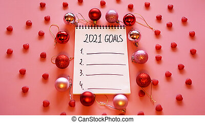 Goal list for 2021. Pink background with Christmas balls