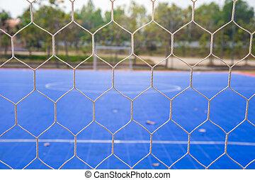 Goal net with futsal field