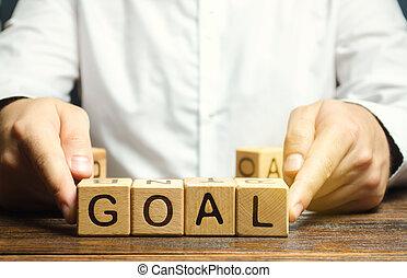 goal., perseverance., target., blocos madeira, palavra, alcançar, purposefulness., homem negócios, conceito, alcançar, põe, heights., planificação, execução, negócio, plan., goals., novo