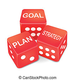 goal, plan and strategy words on three red dice