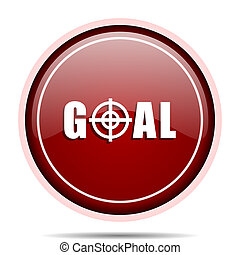 Goal red glossy round web icon. Circle isolated internet button for webdesign and smartphone applications.