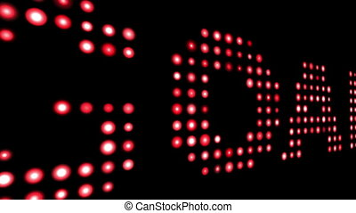 Goal red led text over black