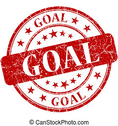 Goal red round grungy vintage rubber stamp