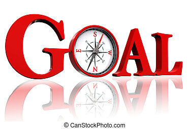 goal red word and conceptual compass on white background....