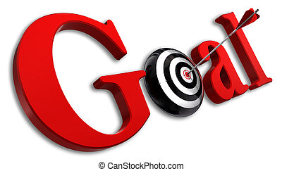 goal red word and conceptual target with arrow on white...
