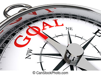 goal red word on conceptual compass