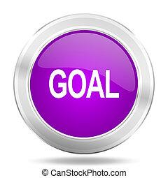 goal round glossy pink silver metallic icon, modern design web element