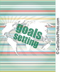 Goal setting concept - business touching screen vector quotation marks with thin line speech bubble. concept of citation, info, testimonials, notice, textbox.