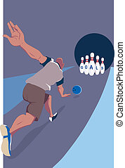 Goal setting - Man striking bowling pins with the word goals...