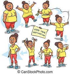 goal., sie, frau, erreichen, gewicht-verlust