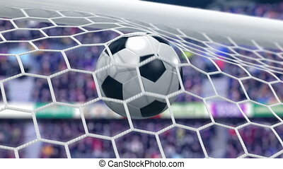 Goal!!! Soccer Ball Flies into the Goal. Beautiful 3d...