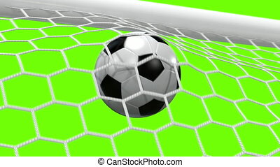 Goal!!! Soccer Ball Flies into the Goal on a green...