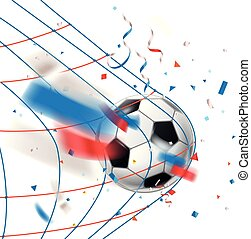 Goal. Soccer ball in a net. World competition concept