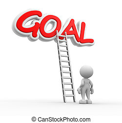Goal - 3d people - man, person with a ladder and word GOAL