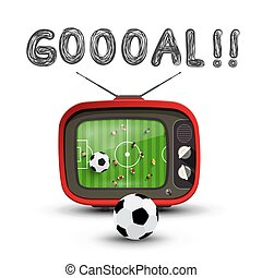 Goal Symbol with Soccer Match on Retro Analog Tv. Vector Goooal Design.