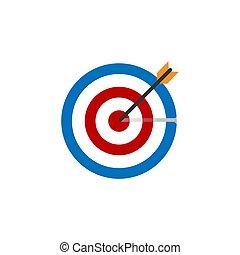 Goal, target icon. Vector illustration, flat design