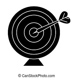 goal target with arrow icon, vector illustration, black sign on isolated background