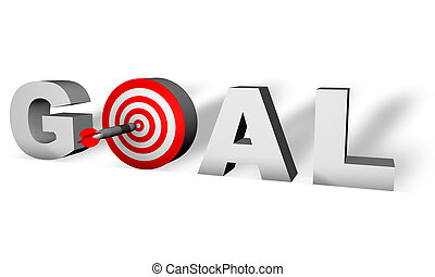 Goal word 3D - Goal word render in 3D with a bulls eye