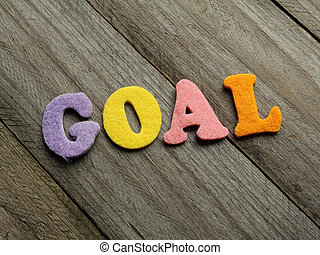 goal word on wooden background