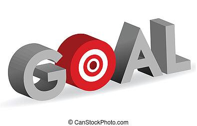 Goal word with bullseye target sign