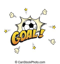 Goal word with football ball in cartoon or comic book style. Vector illustration.