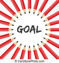 Goal word with pencil background