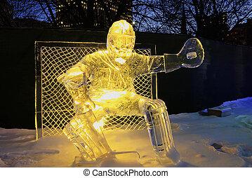Goalie ice sculpture