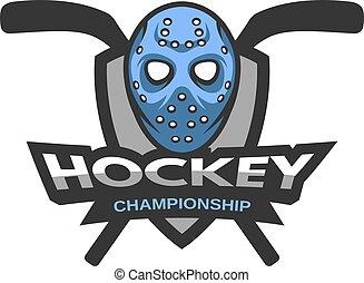 Goalie mask against the background of the shield. Hockey badge, logo, emblem.
