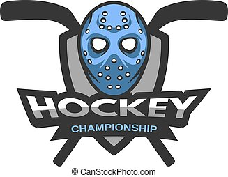 Goalie mask. Hockey logo, emblem. - Goalie mask against the...