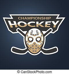Goalie mask. Ice hockey logo, emblem.