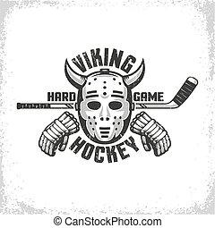Goalie mask with horns Viking