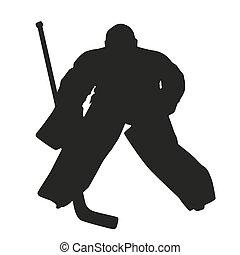 goalie., vettore, silhouette, hockey