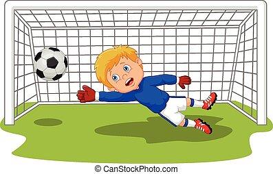 goalie, voetbal, spotprent, voetbal, bewaren