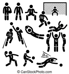 Goalkeeper Actions Football Soccer - A set of stickman...