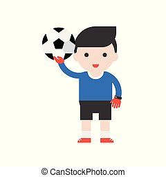 Goalkeeper and football, Set Profession character of people in uniform, flat design